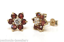 9ct Gold Garnet and CZ cluster Studs earrings Made in UK Gift Boxed