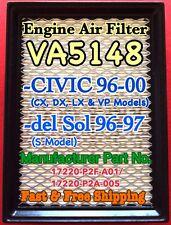 Civic(96-00) del Sol(96-97) Engine Air Filter VA5148 Super Fast & Free Shipping!