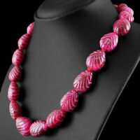 723.50 CTS EARTH MINED RICH RED RUBY PEAR SHAPE CARVED BEADS HAND MADE NECKLACE