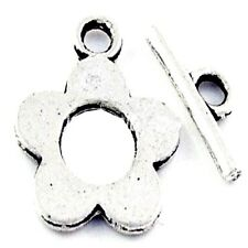 10 Sets Tibetan Silver Alloy Flower Toggles Clasps - A6388
