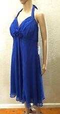 Nordstrom Donna Ricco Blue Silk Empire Rose Ruched Halter Midi Dress 18W $169