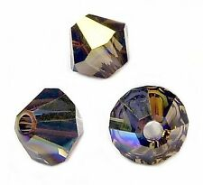 50 Perles Toupies 4mm en cristal Swarovski  SMOKY QUARTZ AB