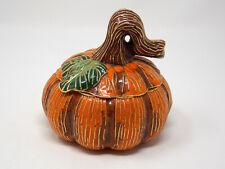 Cloisonne Orange Pumpkin Box With Brown/Gold Trim Stem W/Green Interior