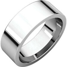 7mm 14K Solid White Gold Plain Flat Comfort Fit Wedding Band Ring All Sizes