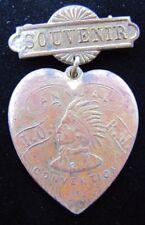 Antique IORM Red Men Annual Convention Souvenir Heart Pin Pinback Medallion
