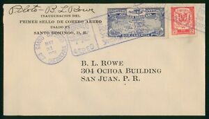 Mayfairstamps Dominican Republic 1928 Rowe Pilot Autographed First Flight cover