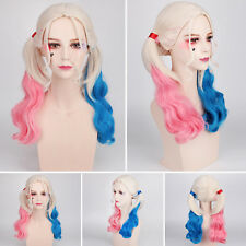 Suicide Squad Harley Quinn Full Wigs Gradient Hair Women Cosplay Party Accessory
