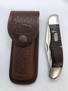 1996 CASE XX 6265 SAB 2 Blade Folding Knife Hunter with Sheath  Free Shipping