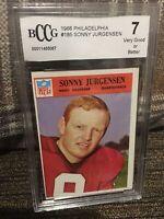 1966 Philadelphia Football Card # 185 Sonny Jurgensen (HOF), BCCG  graded 7 VG