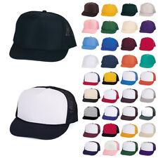 Classic Trucker Baseball Hats Caps Foam Mesh Blank Solid Two Tone Adult Youth