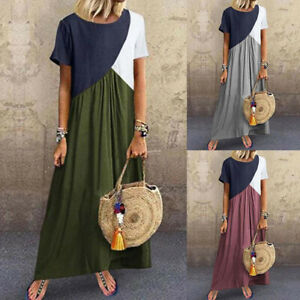 Womens Kaftan Stitching Maxi Long Dress Casual Loose Short Sleeve Baggy Dress