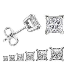 Women Mens Silver Stainless Steel Square White Cubic Zirconia Stud Earrings Gift
