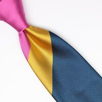 John G Hardy Mens Silk Necktie Large Scale Regimental Stripe Pink Blue Gold Tie