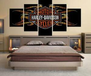 Harley Davidson Canvas Wall Art Painting Abstract 5 Pieces