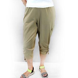 Catherines Beige Stretch Waist Side Pockets Pants Capri Plus 3X, 26/28W