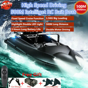 Remote Control Fishing Finder Boat 1.5KG 500M Dual Night Light Lure Fishing Boat