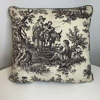 Toile Throw Pillow Black White Checkered backing square shaped farm rustic