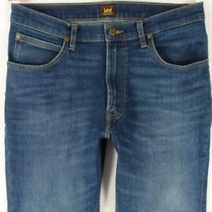 Mens Lee BROOKLYN STRAIGHT Stretch Straight Blue Jeans W34 L32