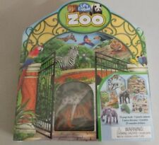 Let's Explore ZOO  Book, Diarama, Plastic Animals, 3D Models and Stickers. NIB