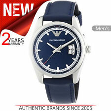Emporio Armani Men's Formal Watch│Blue Round Dial│Blue Leather Strap│AR6017