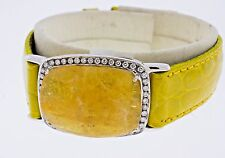14K White Gold Golden Beryl White Diamonds and Black Rhodium Yellow Leather Band