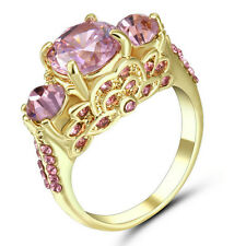 Size 8 Women's Pink Sapphire Crystal Wedding Ring 10Kt Yellow Gold Filled