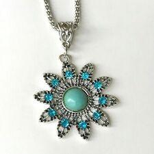 "Silver Aqua Turquoise Medallion Necklace 20"" Sun Flower Southwestern Plated"