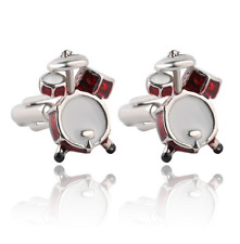 Red White Musical Band Drum Cufflink