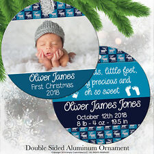 Baby First Christmas Ornament 2018 Photo Blue Moose Sweater Personalized