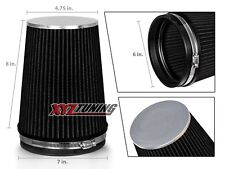 "6"" BLACK Truck Long Performance High Flow Cold Air Intake Cone Dry Filter"