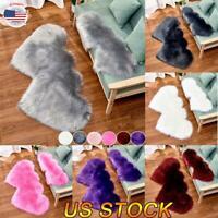 Double-Heart Shape Washable Shiny Fur Sheepskin Soft Carpet Chairs Sofas Cushion