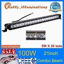 21'' 100W CREE LED Work Light Bar Single Row Slim Combo 4x4WD Offroad Jeep RALLY