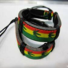 Weed Leaf Hand-painted Vintage Leather Bracelet Unisex Trendy Charm Bangle