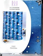 Night Sky View Polyester Shower Curtain - 72 X 72 - Celestial : Stars, Moons