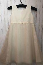 Strasburg Ecru Silk Dress Girls Size 7 Sleeveless Empire Flare Lined Formal