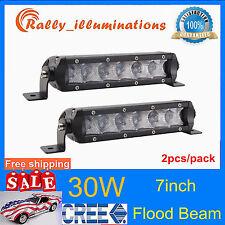"2X 30W 7"" Inch CREE Flood LED Work Light Bar Single Row Off Road 3D Truck 12V24V"