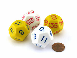 Set of 4 Jumbo D12 Elapsed Time Educational Dice - 2 Each of Yellow and White