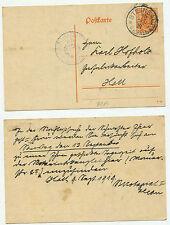 15081 - Württemberg - Ganzsache DP 14 - Steinbach 10.9.1919 nach Hall