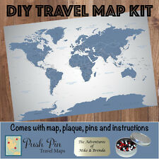 DIY Blue Ice World Push Pin Travel Map Kit