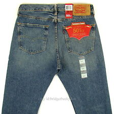 Levis 501 CT Jeans Mens Button Fly SZ 32 x 34 BLUE FADED DISTRESSED Tapered Leg
