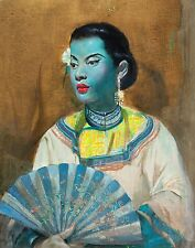 02 The Fan by Cecil Beall (1 of 4) Tretchikoff Era - Vintage Art Print Size A2