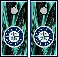 Seattle Mariners 0401 Cornhole board game vinyl wraps stickers posters decals