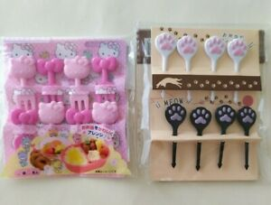 Set of 2 Food pick and fork SANRIO Hello Kitty and cute paws Bento Accessories