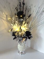 Artificial Flowers Black Glitter Nylon Silver In Silver Sparkle Vase Lights Up