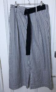 BNWT POL Size 10 Stripe Picket Pants 100% Cotton Wide Leg