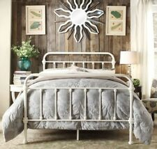 QUEEN Antique White Victorian Iron Metal Beds Bed Frame Frames Bedroom Furniture