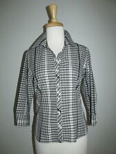 Foxcroft Fitted Size 6P Black & White Plaid Non Iron 3/4 Sleeve Blouse Shirt