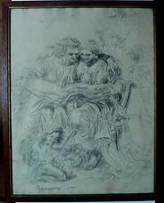 DESSIN PESONNAGE LIVRE LITTERATURE SYMBOLISTE signé HENRY DE GROUX BELGE XIX XX