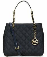 Michael Kors Womens Susannah Quilted Satchel Handbag Blue Navy Bag Handbag NEW