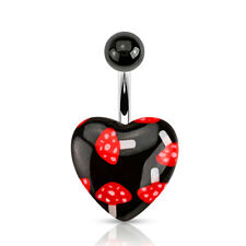 Black Acrylic Heart Mushroom Print 316L Surgical Steel Belly Bar / Navel Ring